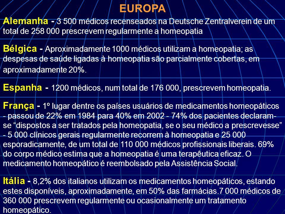 EUROPA Alemanha - 3 500 médicos recenseados na Deutsche Zentralverein de um total de 258 000 prescrevem regularmente a homeopatia Bélgica - Aproximada