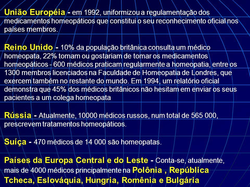 União Européia - em 1992, uniformizou a regulamentação dos medicamentos homeopáticos que constitui o seu reconhecimento oficial nos países membros. Re