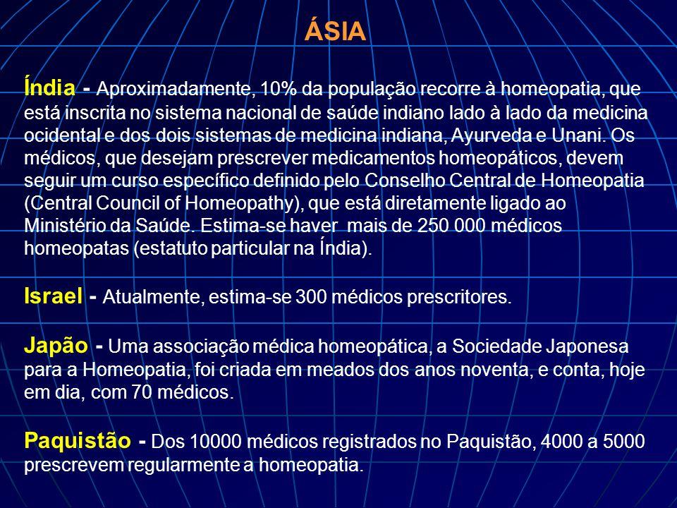 ÁSIA Índia - Aproximadamente, 10% da população recorre à homeopatia, que está inscrita no sistema nacional de saúde indiano lado à lado da medicina oc