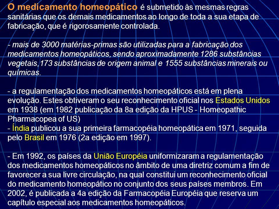 O medicamento homeopático é submetido às mesmas regras sanitárias que os demais medicamentos ao longo de toda a sua etapa de fabricação, que é rigoros