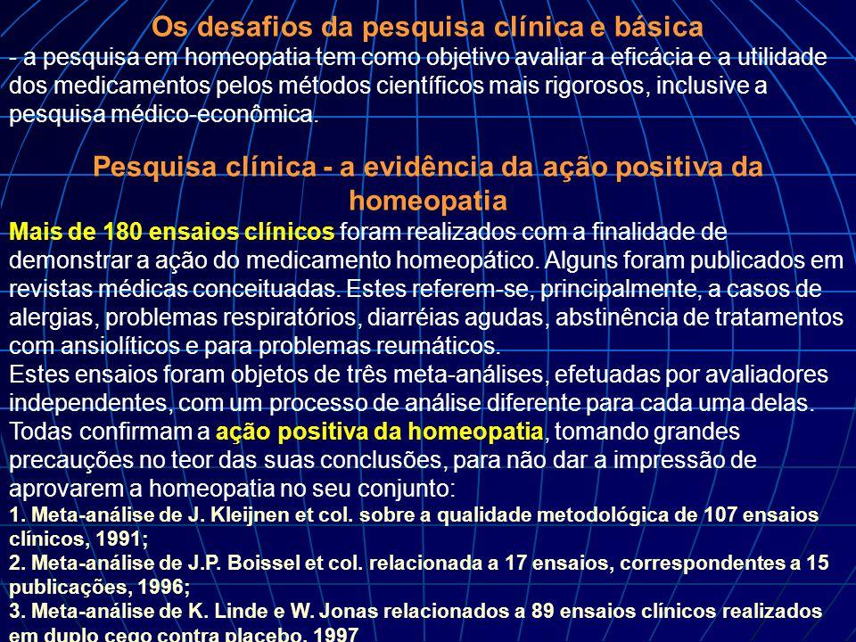 Os desafios da pesquisa clínica e básica - a pesquisa em homeopatia tem como objetivo avaliar a eficácia e a utilidade dos medicamentos pelos métodos