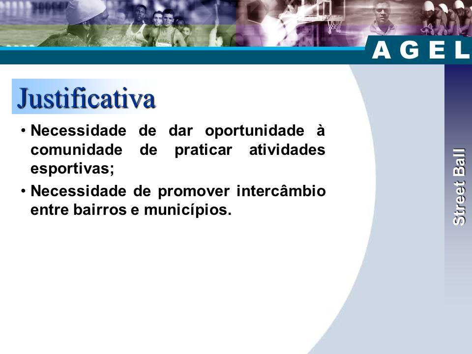 Street Ball Justificativa •Necessidade de dar oportunidade à comunidade de praticar atividades esportivas; •Necessidade de promover intercâmbio entre bairros e municípios.