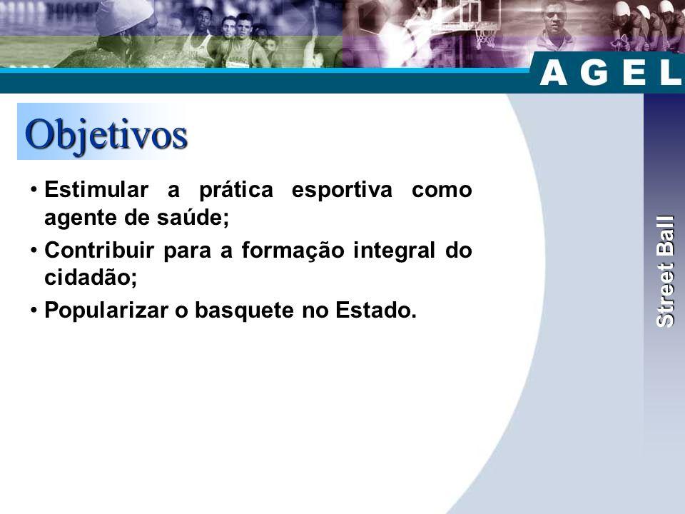 Street Ball Objetivos •Estimular a prática esportiva como agente de saúde; •Contribuir para a formação integral do cidadão; •Popularizar o basquete no Estado.