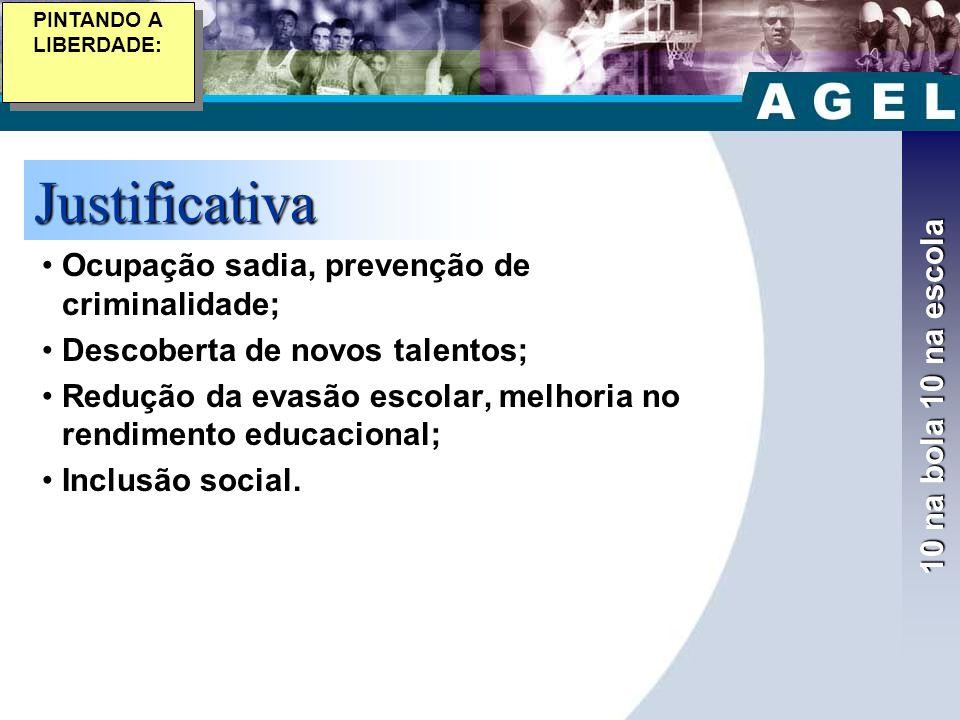 10 na bola 10 na escola Justificativa •Ocupação sadia, prevenção de criminalidade; •Descoberta de novos talentos; •Redução da evasão escolar, melhoria no rendimento educacional; •Inclusão social.