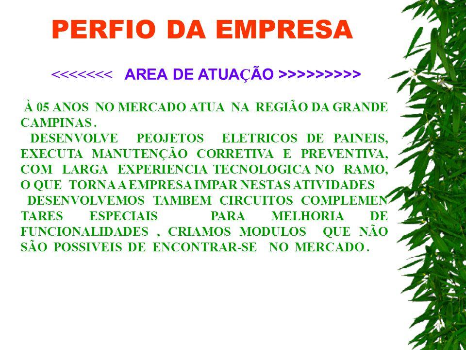 PERFIO DA EMPRESA >>>>>>>> À 05 ANOS NO MERCADO ATUA NA REGIÃO DA GRANDE CAMPINAS.