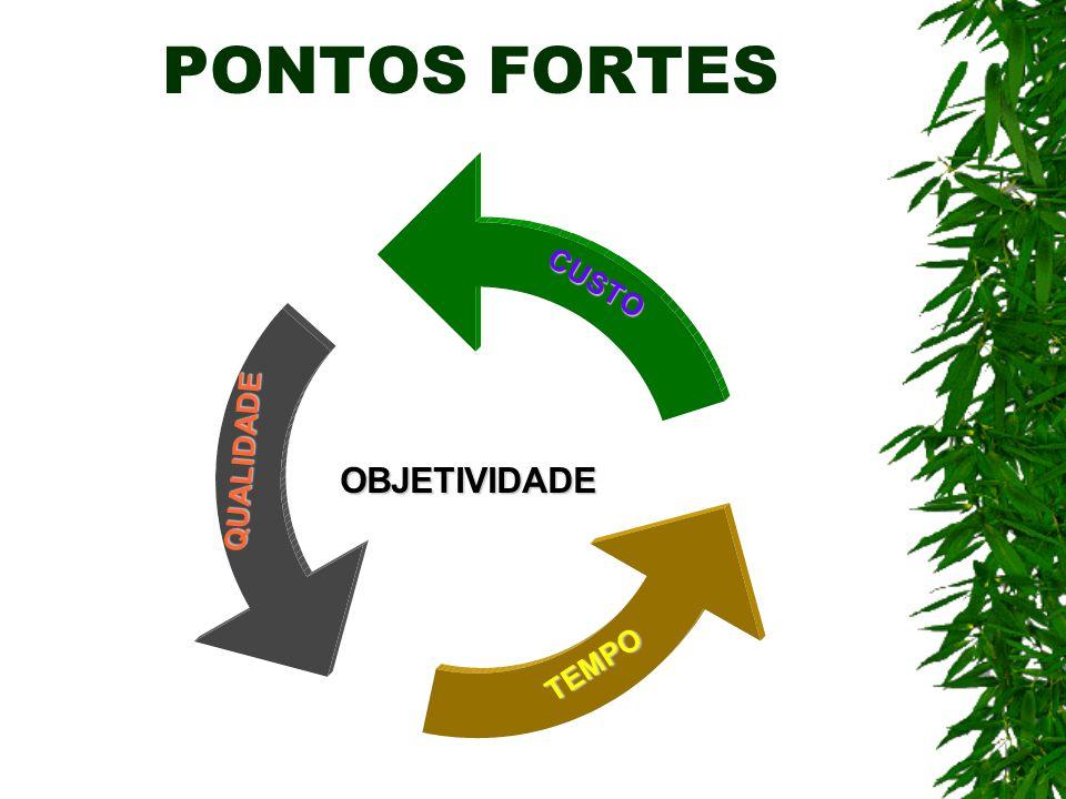 PONTOS FORTES OBJETIVIDADE CUSTO QUALIDADE TEMPO