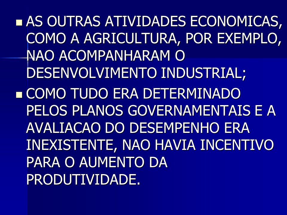  AS OUTRAS ATIVIDADES ECONOMICAS, COMO A AGRICULTURA, POR EXEMPLO, NAO ACOMPANHARAM O DESENVOLVIMENTO INDUSTRIAL;  COMO TUDO ERA DETERMINADO PELOS P