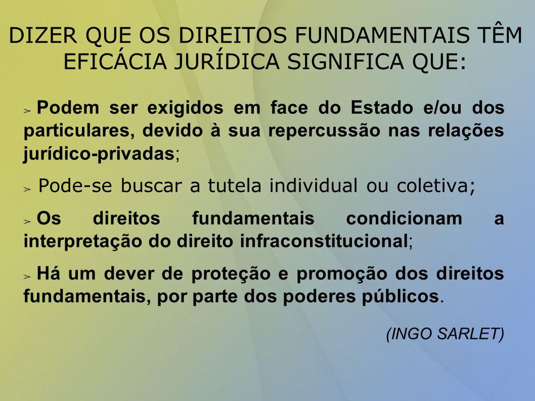 DIZER QUE OS DIREITOS FUNDAMENTAIS TÊM EFICÁCIA JURÍDICA SIGNIFICA QUE: ➢ Podem ser exigidos em face do Estado e/ou dos particulares, devido à sua repercussão nas relações jurídico-privadas; ➢ Pode-se buscar a tutela individual ou coletiva; ➢ Os direitos fundamentais condicionam a interpretação do direito infraconstitucional; ➢ Há um dever de proteção e promoção dos direitos fundamentais, por parte dos poderes públicos.