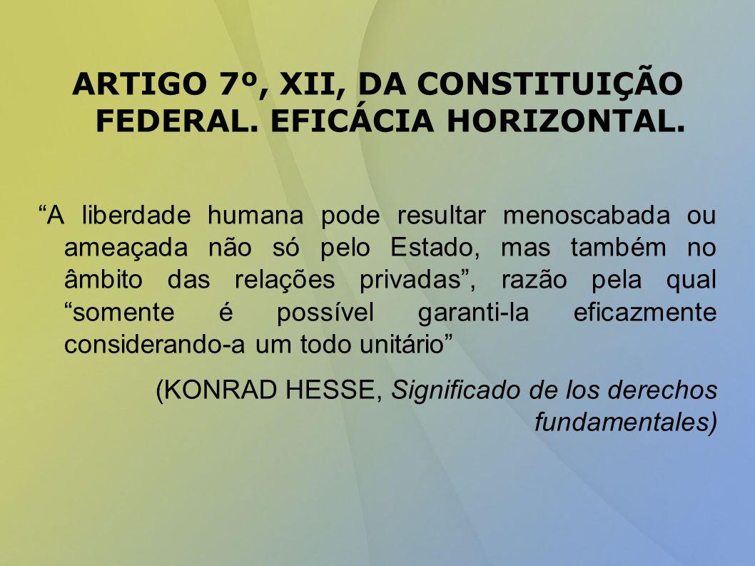 ARTIGO 7º, XII, DA CONSTITUIÇÃO FEDERAL.EFICÁCIA HORIZONTAL.