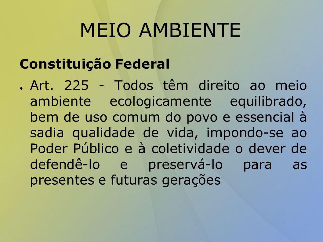 MEIO AMBIENTE Constituição Federal ● Art.