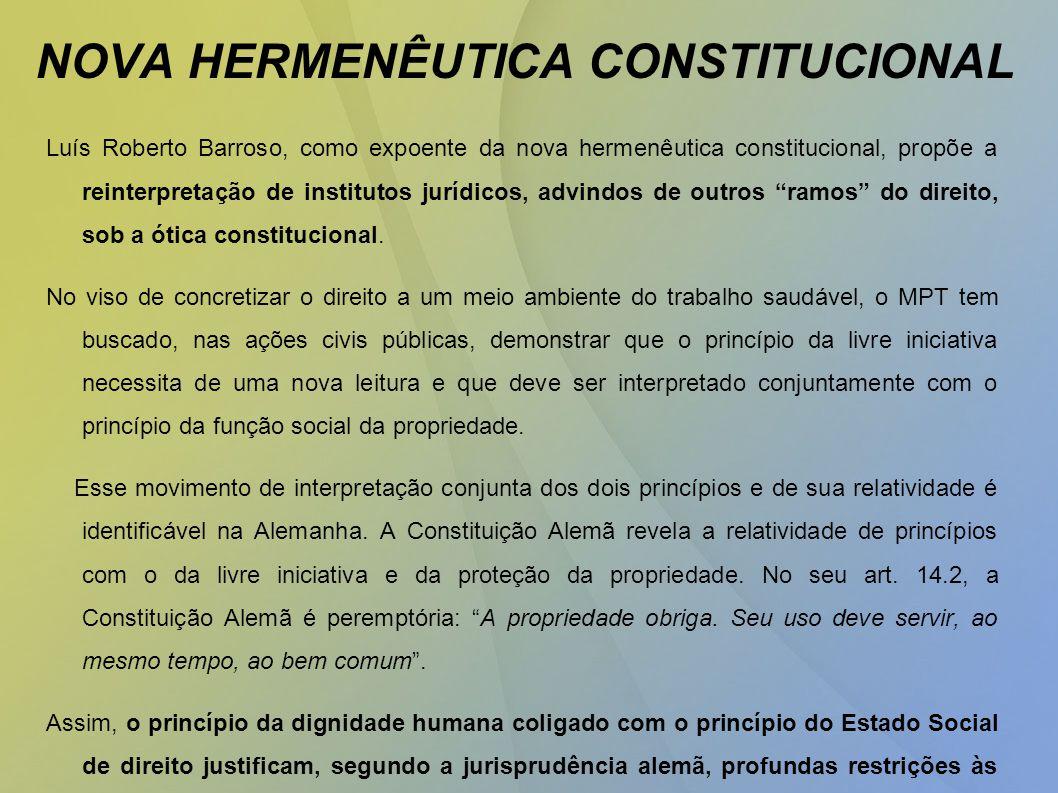 NOVA HERMENÊUTICA CONSTITUCIONAL Luís Roberto Barroso, como expoente da nova hermenêutica constitucional, propõe a reinterpretação de institutos jurídicos, advindos de outros ramos do direito, sob a ótica constitucional.