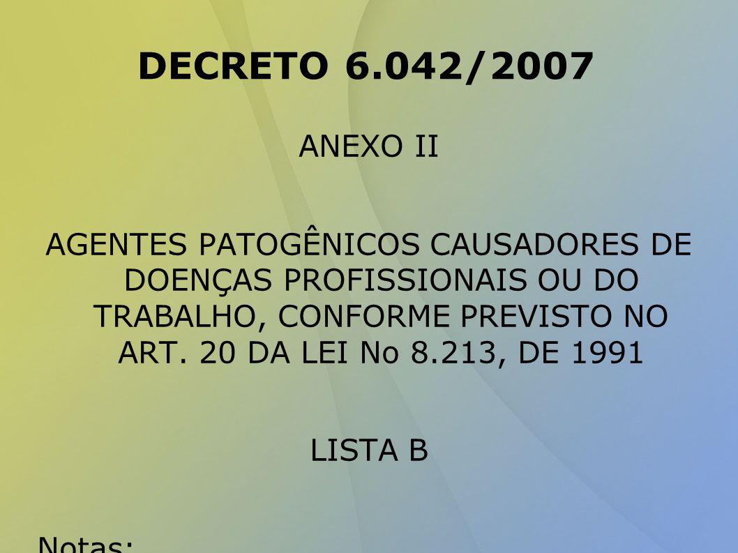 DECRETO 6.042/2007 ANEXO II AGENTES PATOGÊNICOS CAUSADORES DE DOENÇAS PROFISSIONAIS OU DO TRABALHO, CONFORME PREVISTO NO ART.