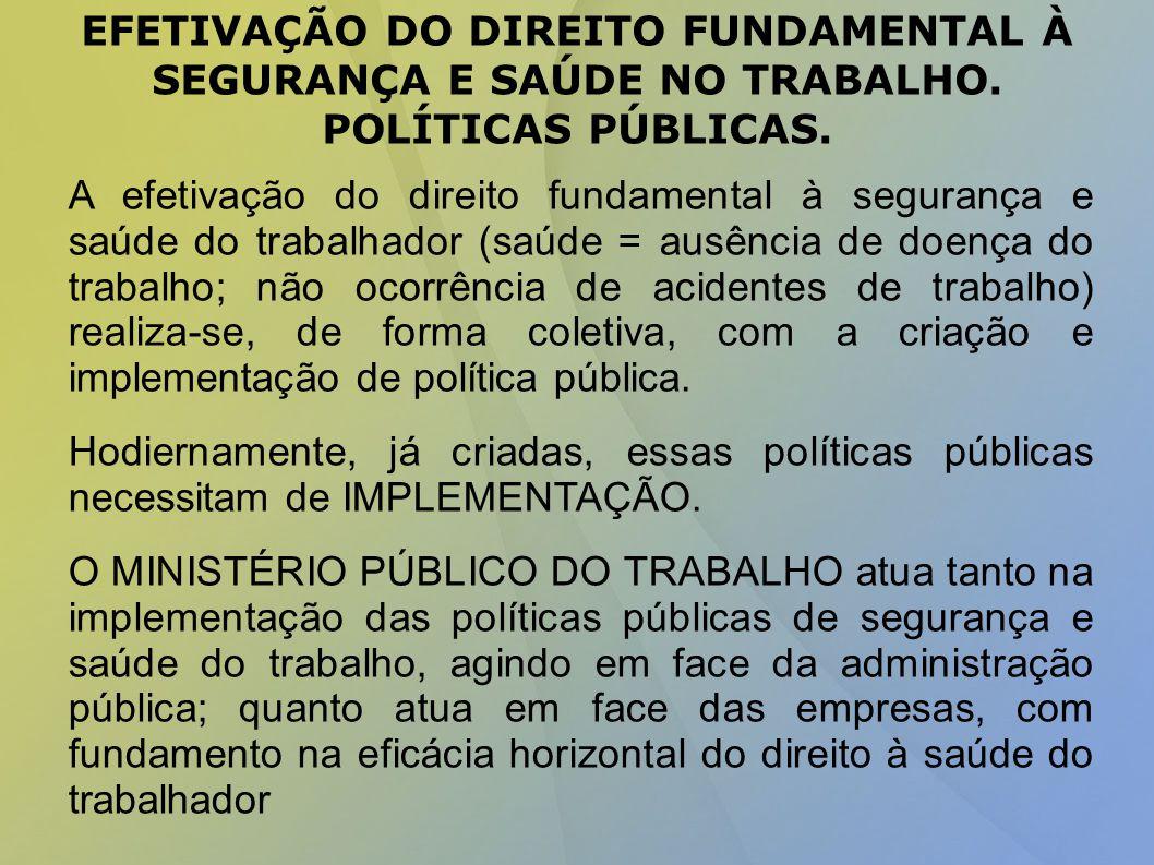 EFETIVAÇÃO DO DIREITO FUNDAMENTAL À SEGURANÇA E SAÚDE NO TRABALHO.