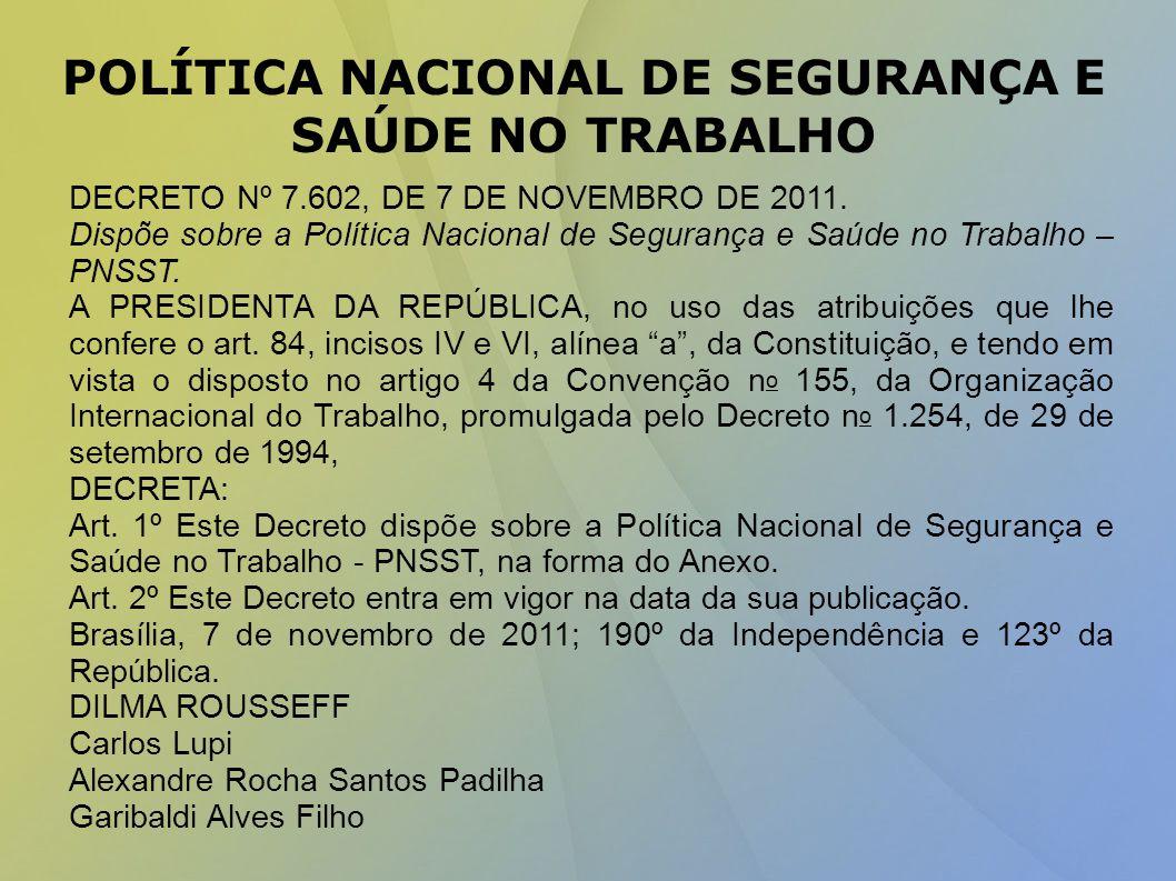 POLÍTICA NACIONAL DE SEGURANÇA E SAÚDE NO TRABALHO DECRETO Nº 7.602, DE 7 DE NOVEMBRO DE 2011.