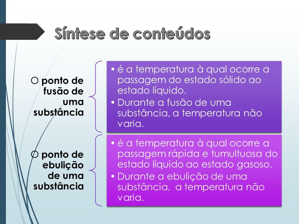 O ponto de fusão de uma substância •é a temperatura à qual ocorre a passagem do estado sólido ao estado líquido. •Durante a fusão de uma substância, a