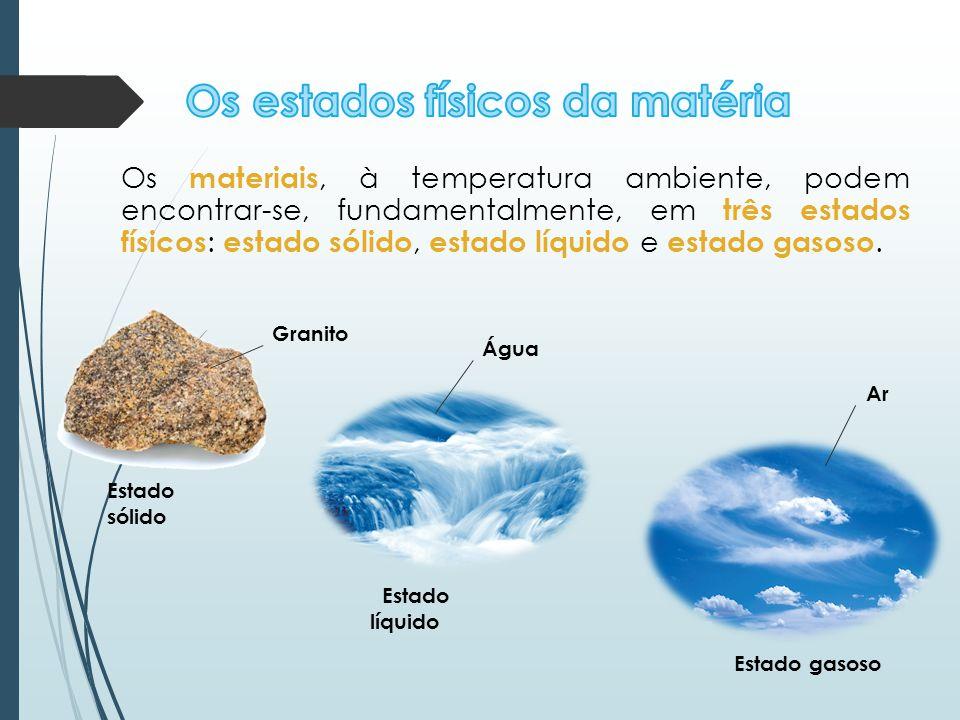 Os materiais, à temperatura ambiente, podem encontrar-se, fundamentalmente, em três estados físicos : estado sólido, estado líquido e estado gasoso. E