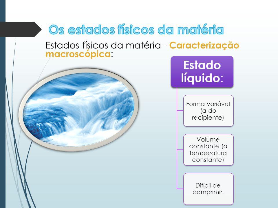 Estados físicos da matéria - Caracterização macroscópica : Estado líquido : Forma variável (a do recipiente) Volume constante (a temperatura constante