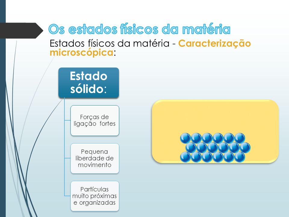 Estados físicos da matéria - Caracterização microscópica : Estado sólido : Forças de ligação fortes Pequena liberdade de movimento Partículas muito pr