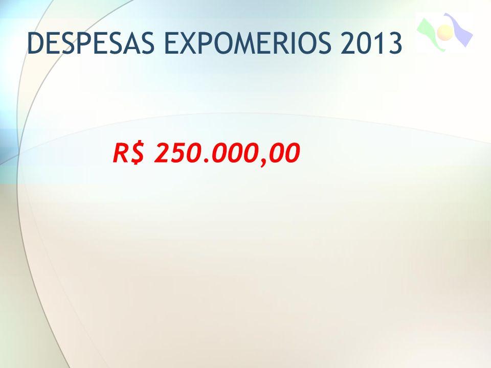 DESPESAS EXPOMERIOS 2013 R$ 250.000,00