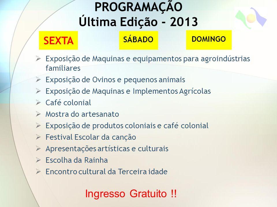 PROGRAMAÇÃO Última Edição - 2013 SEXTA SÁBADO DOMINGO  Exposição de Maquinas e equipamentos para agroindústrias familiares  Exposição de Ovinos e pe