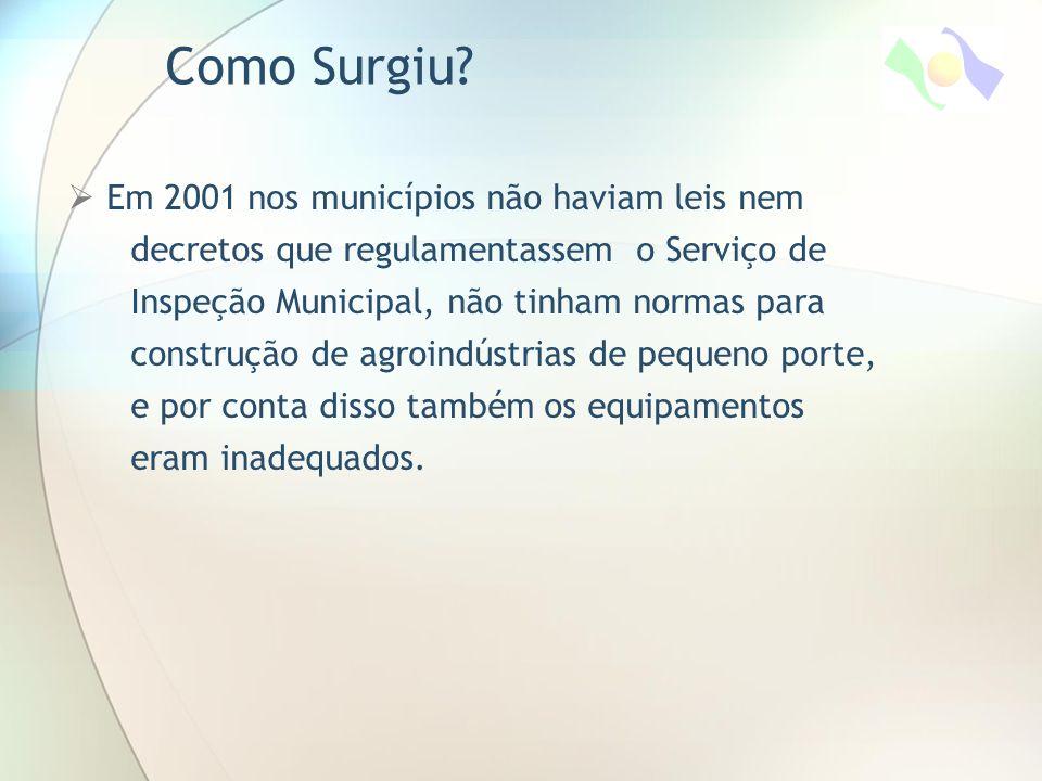  Em 2001 nos municípios não haviam leis nem decretos que regulamentassem o Serviço de Inspeção Municipal, não tinham normas para construção de agroindústrias de pequeno porte, e por conta disso também os equipamentos eram inadequados.