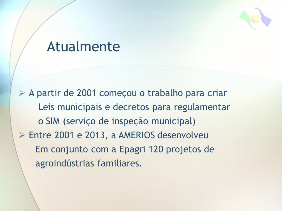  A partir de 2001 começou o trabalho para criar Leis municipais e decretos para regulamentar o SIM (serviço de inspeção municipal)  Entre 2001 e 2013, a AMERIOS desenvolveu Em conjunto com a Epagri 120 projetos de agroindústrias familiares.