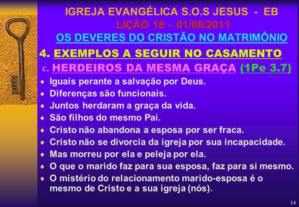 14 4. EXEMPLOS A SEGUIR NO CASAMENTO c. HERDEIROS DA MESMA GRAÇA (1Pe 3.7)  Iguais perante a salvação por Deus.  Diferenças são funcionais.  Juntos