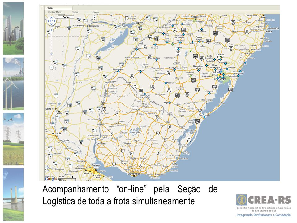 """Acompanhamento """"on-line"""" pela Seção de Logística de toda a frota simultaneamente"""