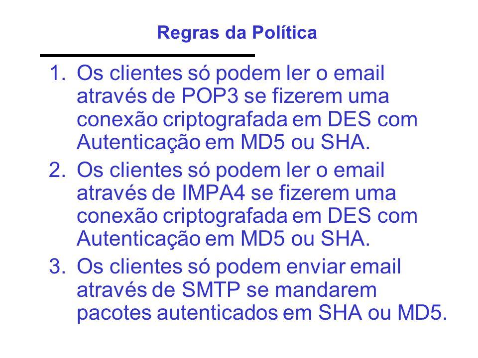Regras da Política 1.Os clientes só podem ler o email através de POP3 se fizerem uma conexão criptografada em DES com Autenticação em MD5 ou SHA. 2.Os