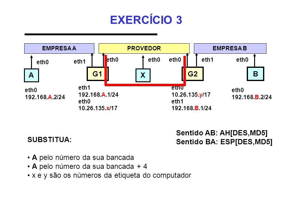 EXERCÍCIO 3 AX B EMPRESA A eth0 192.168.A.2/24 PROVEDOR G1 eth1 G2 eth1 192.168.A.1/24 eth0 10.26.135.x/17 eth0 10.26.135.y/17 eth1 192.168.B.1/24 eth0 192.168.B.2/24 eth0 SUBSTITUA: • A pelo número da sua bancada • A pelo número da sua bancada + 4 • x e y são os números da etiqueta do computador EMPRESA B eth0 eth1eth0 Sentido AB: AH[DES,MD5] Sentido BA: ESP[DES,MD5]