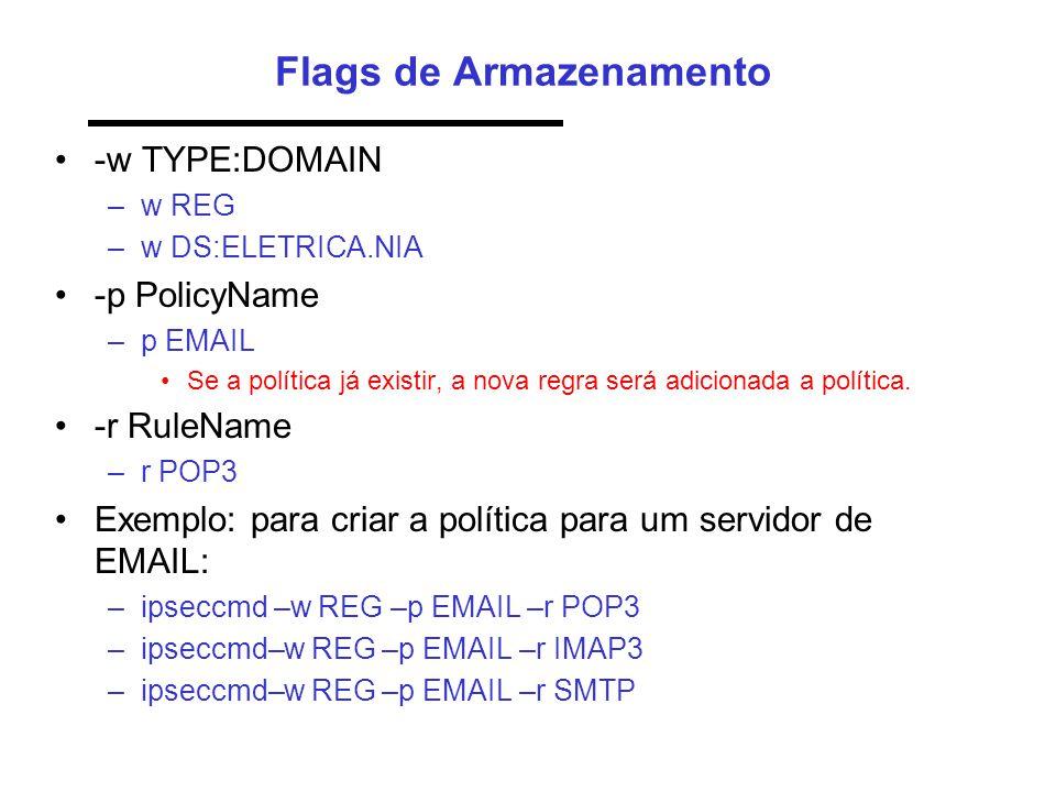 Flags de Armazenamento •-w TYPE:DOMAIN –w REG –w DS:ELETRICA.NIA •-p PolicyName –p EMAIL •Se a política já existir, a nova regra será adicionada a política.