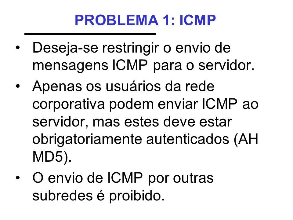 PROBLEMA 1: ICMP •Deseja-se restringir o envio de mensagens ICMP para o servidor. •Apenas os usuários da rede corporativa podem enviar ICMP ao servido