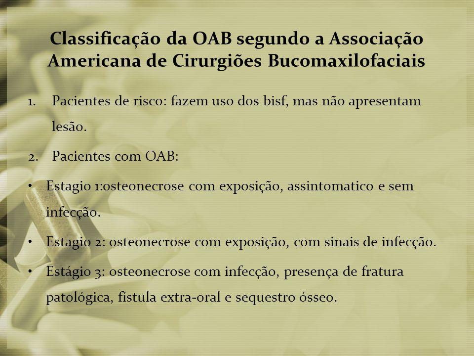 Classificação da OAB segundo a Associação Americana de Cirurgiões Bucomaxilofaciais 1.Pacientes de risco: fazem uso dos bisf, mas não apresentam lesão.