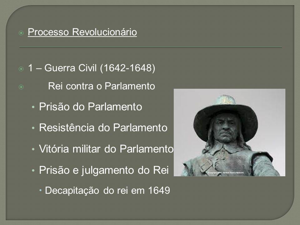  Processo Revolucionário  1 – Guerra Civil (1642-1648)  Rei contra o Parlamento • Prisão do Parlamento • Resistência do Parlamento • Vitória milita
