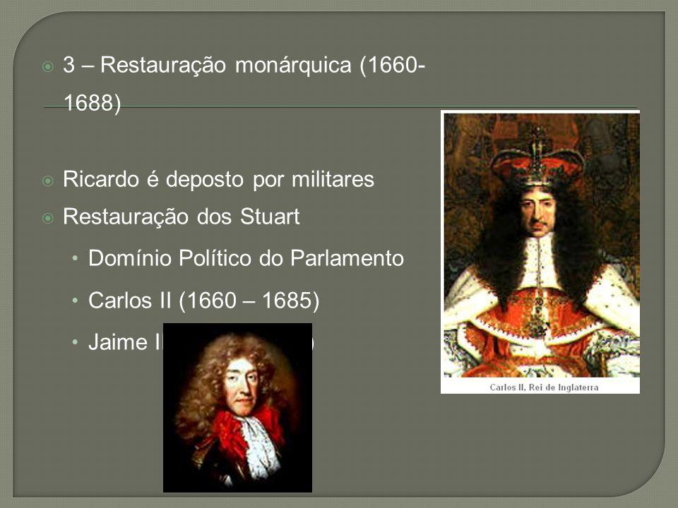  3 – Restauração monárquica (1660- 1688)  Ricardo é deposto por militares  Restauração dos Stuart • Domínio Político do Parlamento • Carlos II (166