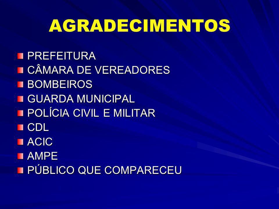 AGRADECIMENTOS PREFEITURA CÂMARA DE VEREADORES BOMBEIROS GUARDA MUNICIPAL POLÍCIA CIVIL E MILITAR CDLACICAMPE PÚBLICO QUE COMPARECEU