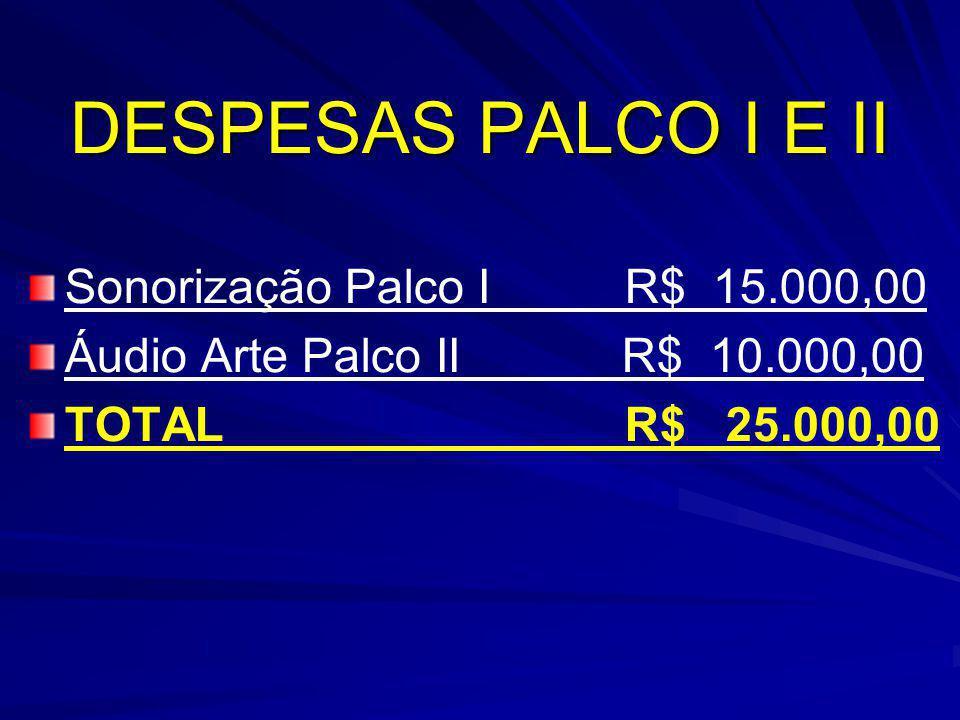 DESPESAS PALCO I E II Sonorização Palco I R$ 15.000,00 Áudio Arte Palco II R$ 10.000,00 TOTAL R$ 25.000,00