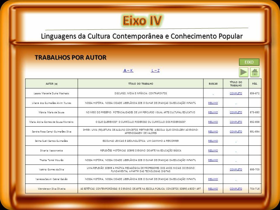 Linguagens da Cultura Contemporânea e Conhecimento Popular TRABALHOS POR AUTOR A – K L – Z AUTOR (a)TÍTULO DO TRABALHOBUSCAR TÍTULO DO TRABALHO PÁG. A