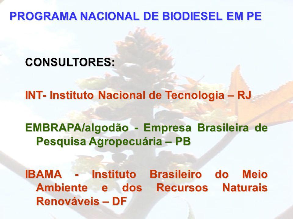 PROGRAMA NACIONAL DE BIODIESEL EM PE CONSULTORES: INT- Instituto Nacional de Tecnologia – RJ EMBRAPA/algodão - Empresa Brasileira de Pesquisa Agropecu