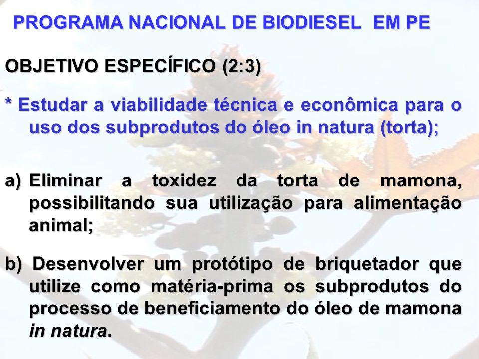 PROGRAMA NACIONAL DE BIODIESEL EM PE OBJETIVO ESPECÍFICO (2:3) * Estudar a viabilidade técnica e econômica para o uso dos subprodutos do óleo in natur