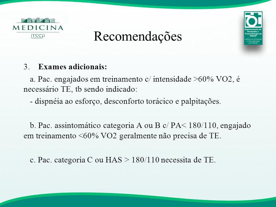 3. Exames adicionais: a. Pac. engajados em treinamento c/ intensidade >60% VO2, é necessário TE, tb sendo indicado: - dispnéia ao esforço, desconforto