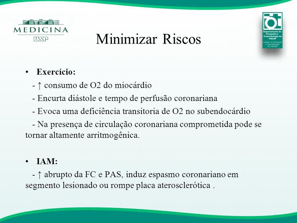 Minimizar Riscos •Exercício: - ↑ consumo de O2 do miocárdio - Encurta diástole e tempo de perfusão coronariana - Evoca uma deficiência transitoria de