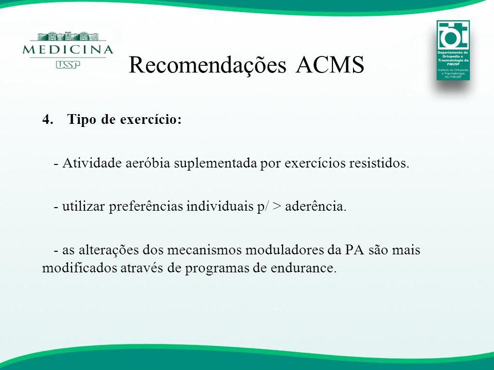 Recomendações ACMS 4.Tipo de exercício: - Atividade aeróbia suplementada por exercícios resistidos. - utilizar preferências individuais p/ > aderência