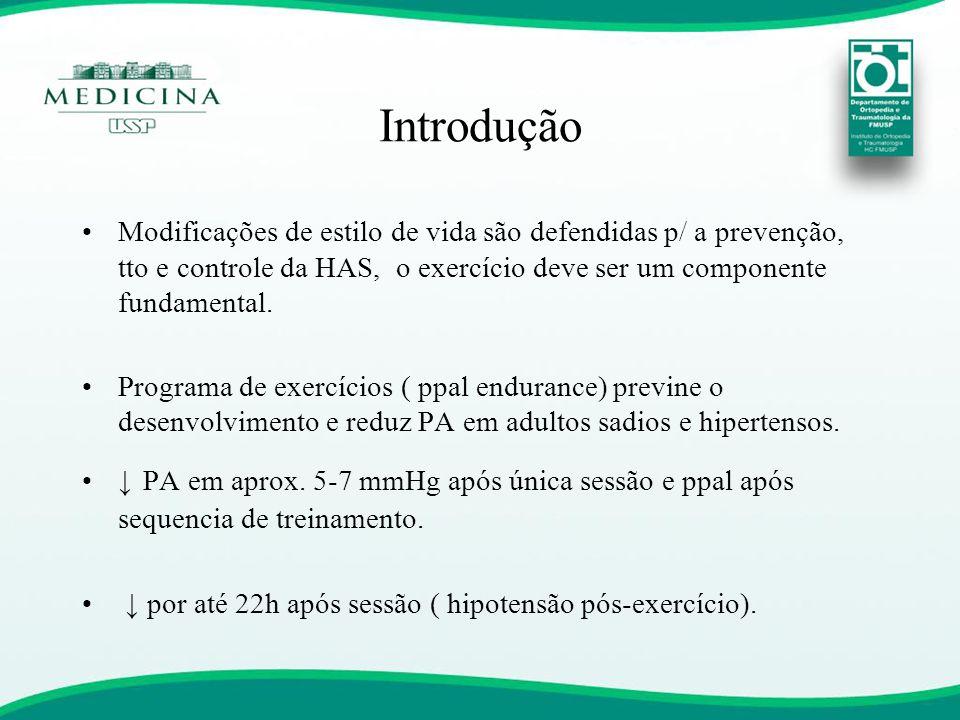 •Modificações de estilo de vida são defendidas p/ a prevenção, tto e controle da HAS, o exercício deve ser um componente fundamental. •Programa de exe