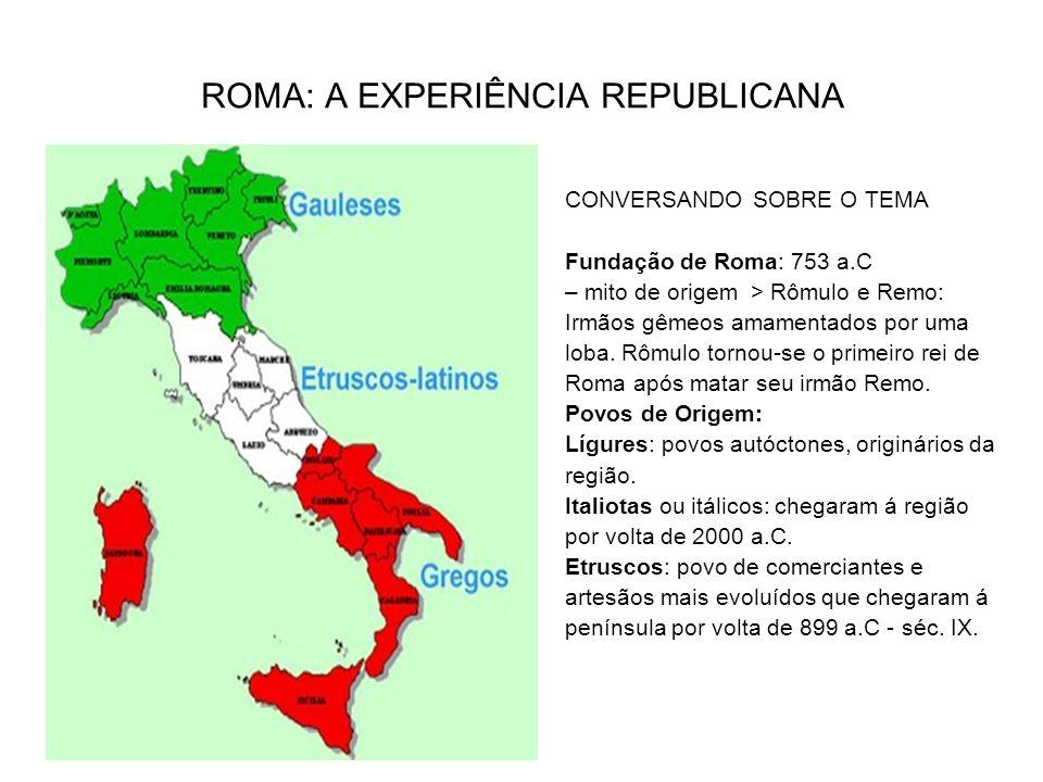 Fundação de Roma: 753 a.C mito de origem: Rômulo e Remo, irmãos gêmeos amamentados por uma loba.