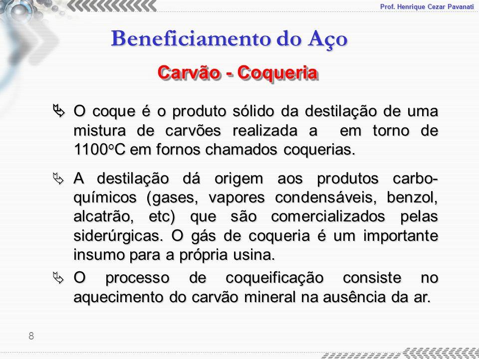 Prof. Henrique Cezar Pavanati Beneficiamento do Aço 8  O coque é o produto sólido da destilação de uma mistura de carvões realizada a em torno de 110