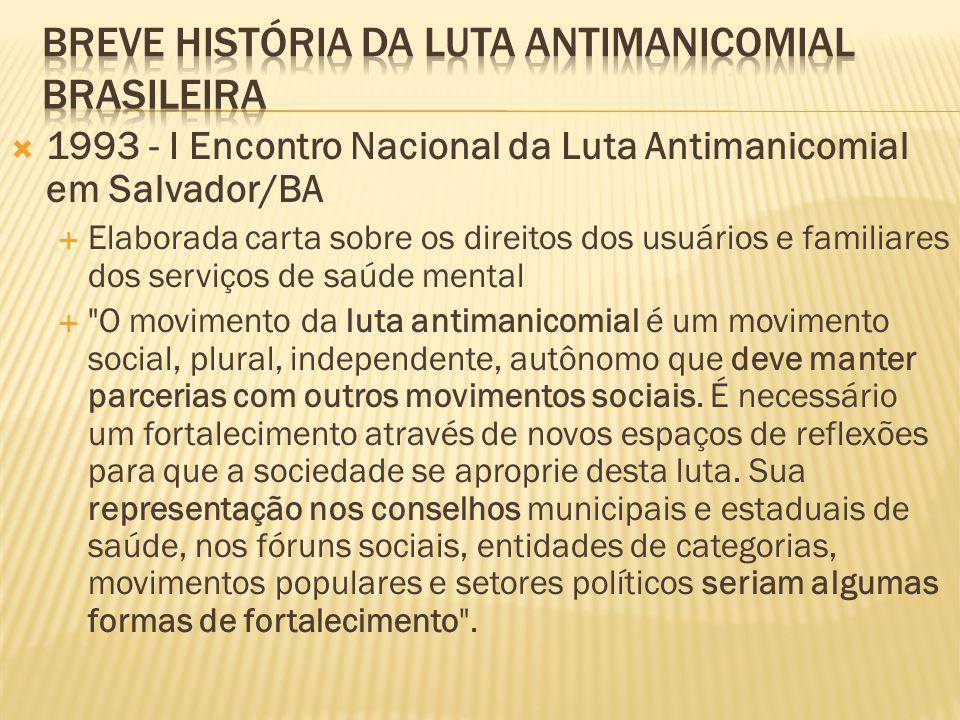  1993 - I Encontro Nacional da Luta Antimanicomial em Salvador/BA  Elaborada carta sobre os direitos dos usuários e familiares dos serviços de saúde