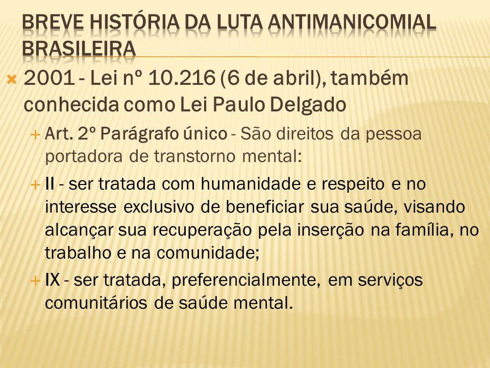  2001 - Lei nº 10.216 (6 de abril), também conhecida como Lei Paulo Delgado  Art. 2º Parágrafo único - São direitos da pessoa portadora de transtorn