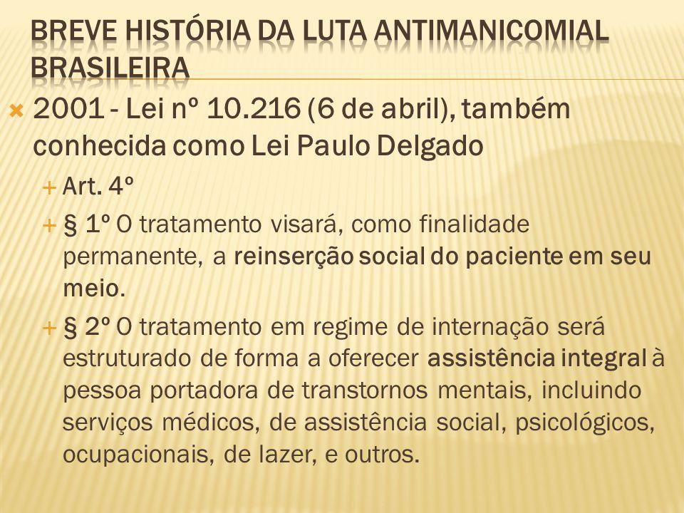  2001 - Lei nº 10.216 (6 de abril), também conhecida como Lei Paulo Delgado  Art. 4º  § 1º O tratamento visará, como finalidade permanente, a reins