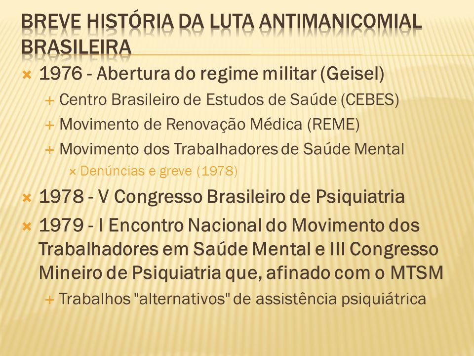  1976 - Abertura do regime militar (Geisel)  Centro Brasileiro de Estudos de Saúde (CEBES)  Movimento de Renovação Médica (REME)  Movimento dos Tr